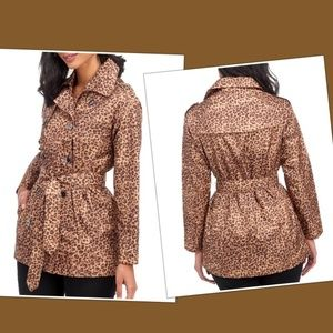 NWT CAPELLI Leopard Print Belted Trench Rain Coat